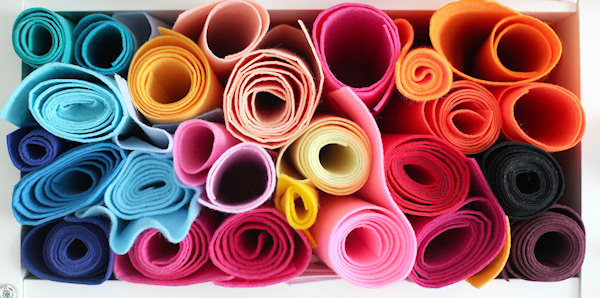 Coloured fabric rolls