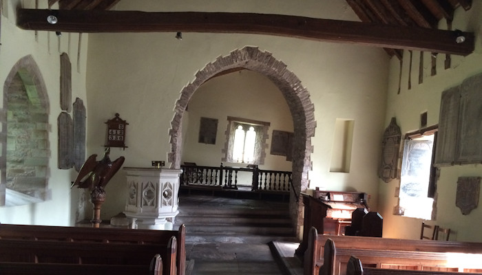 Crooked church interior